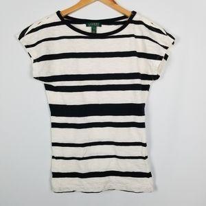 Ralph Lauren Black & Cream Striped Cap Sleeve Top